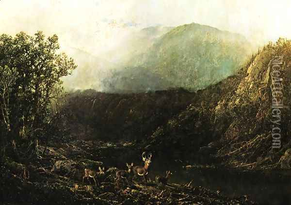 Deer in Landscape Oil Painting - William Louis Sonntag
