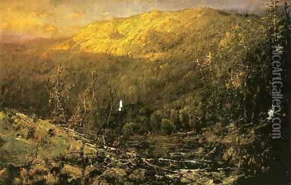 A Wooded Mountain Landscape Oil Painting - William Louis Sonntag