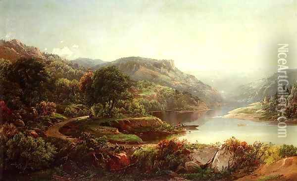 Boating on a Mountain River Oil Painting - William Louis Sonntag