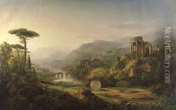Landscape with Temple Ruins Oil Painting - William Louis Sonntag