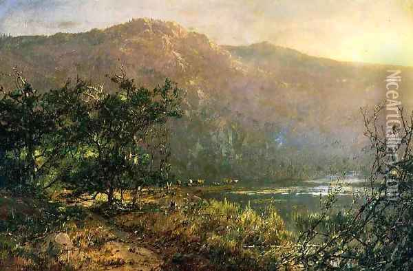 Gathering at Sundown Oil Painting - William Louis Sonntag