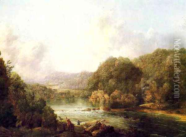 Duck Hunters on the Ohio River Oil Painting - William Louis Sonntag