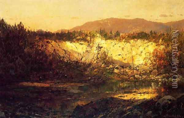 Shadows Rising and Sun Setting, New Hampshire Oil Painting - William Louis Sonntag