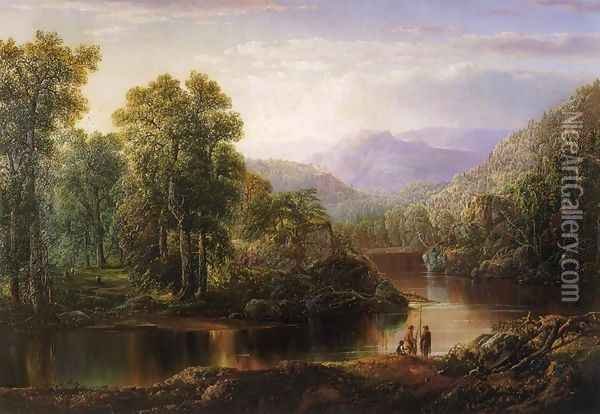 Landscape with Fishermen Oil Painting - William Louis Sonntag