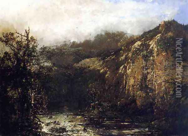 A Mountain Stream from the Foot of Mt. Carter, New Hampshire Oil Painting - William Louis Sonntag