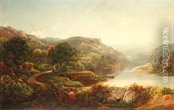 Boating on a Mountain River 2 Oil Painting - William Louis Sonntag