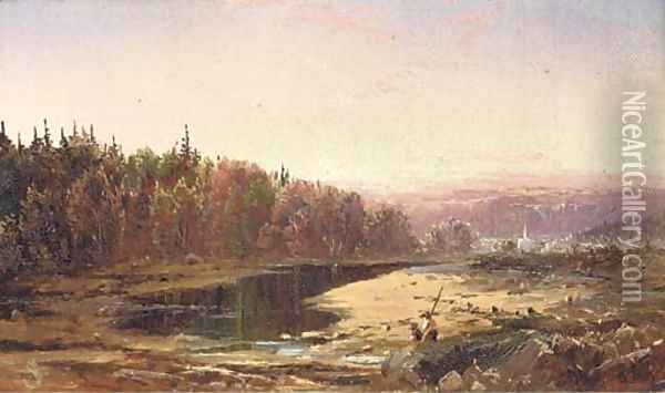 Fishing Along the Creek Oil Painting - William Louis Sonntag