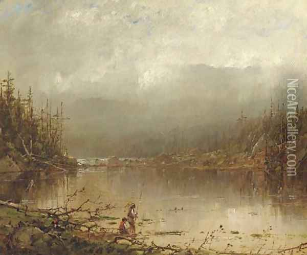 Fishing Along the River Oil Painting - William Louis Sonntag