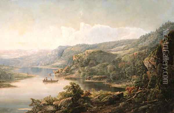 Fishing the River Oil Painting - William Louis Sonntag