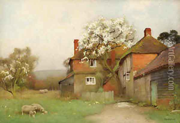 Sheep Grazing by a Cottage Oil Painting - Benjamin D. Sigmund