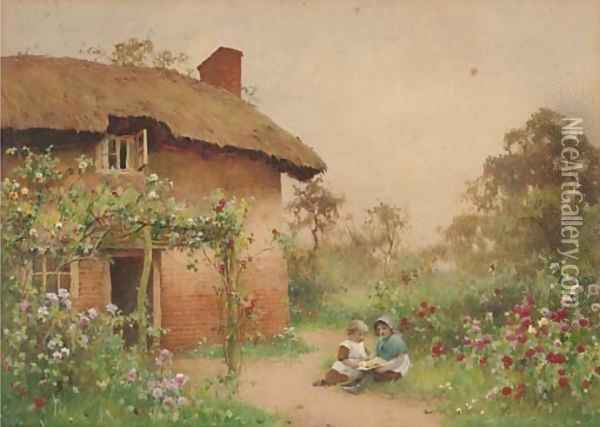 Children playing before a cottage Oil Painting - Benjamin D. Sigmund