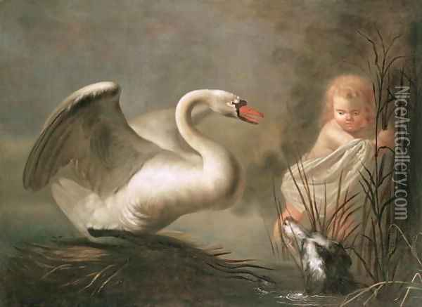 A Swan guarding its Nest from a Child and a Spaniel Oil Painting - Pieter Snyers