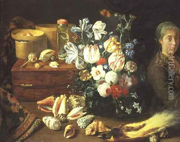 Still Life, flowers, shells, snakes, bird and a standing woman Oil Painting - Pieter Snyers