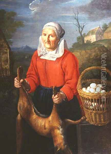 An Old Woman with a Dead Fox Oil Painting - Pieter Snyers