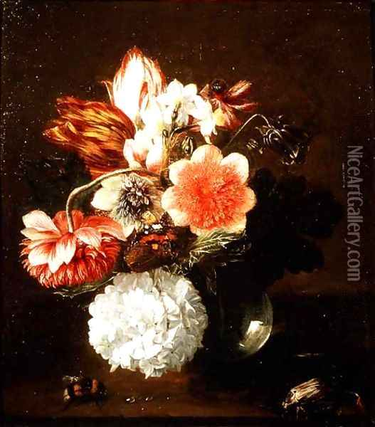 Glass Vase of Flowers with a Butterfly and a Bumble Bee Oil Painting - Pieter Snyers