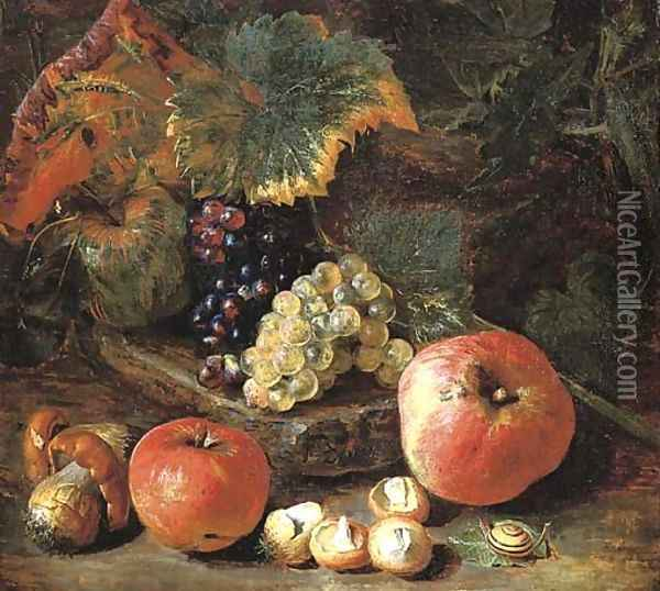 Grapes and vine leaves on a stone ledge with apples, mushrooms and a snail Oil Painting - Pieter Snyers
