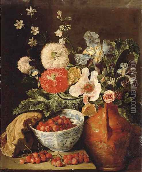 Wild strawberries in a blue and white porcelain bowl, carnations, irises, and other flowers in an earthenware jug on a stone ledge Oil Painting - Pieter Snyers