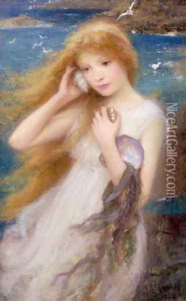 Sea Nymph, 1893 Oil Painting - William Robert Symonds
