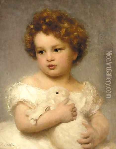 A young girl with her pet rabbit Oil Painting - William Robert Symonds