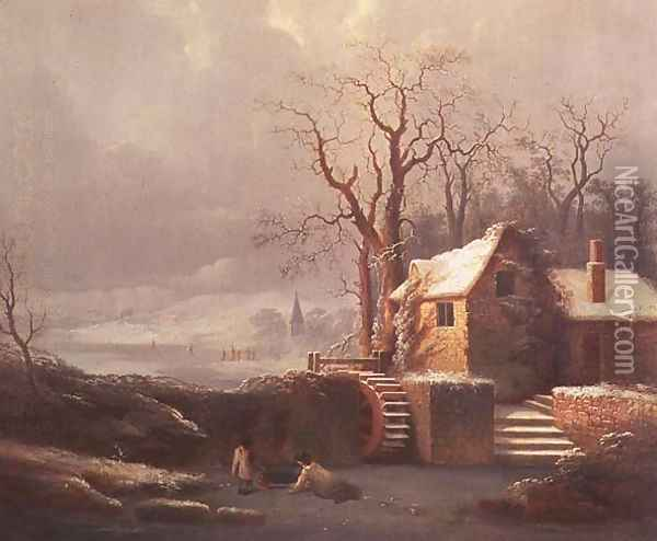 Snow Scene with Mill and Cottages Oil Painting - George, of Chichester Smith