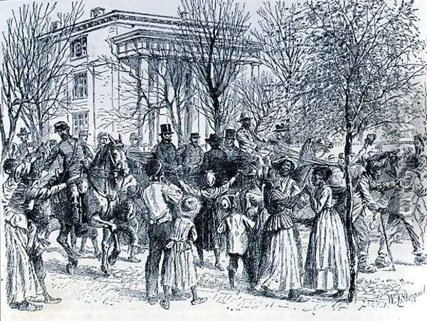 President Lincoln leaving the Davis Mansion, illustration from Battles and Leaders of the Civil War, edited by Robert Underwood Johnson and Clarence Clough Buel Oil Painting - William Ludlow Sheppard
