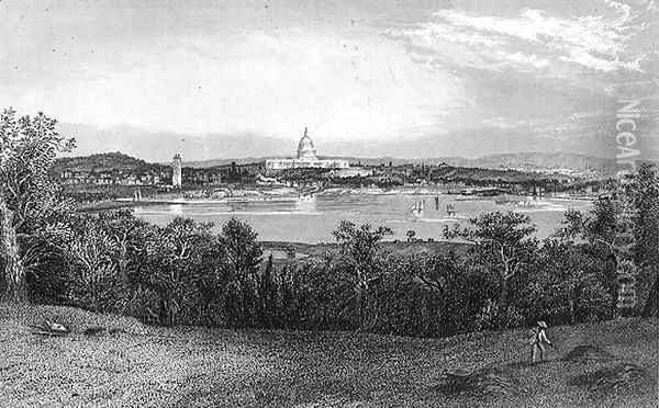 Washington from Arlington Heights, engraved by Robert Hinshelwood 1812-c.1875 1872 Oil Painting - William Ludlow Sheppard