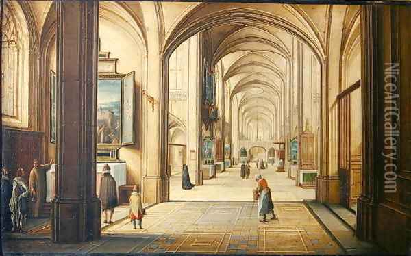 Church interior with a sacristan showing a painting to visitors, 1608 Oil Painting - Hendrick van, the Younger Steenwyck