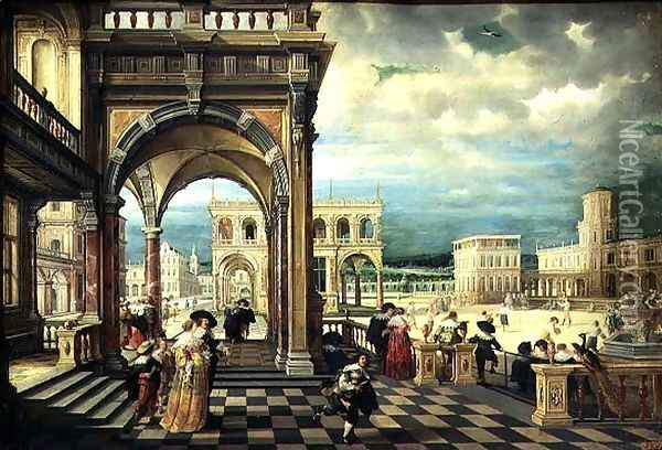 Italian Palace, 1623 2 Oil Painting - Hendrick van, the Younger Steenwyck