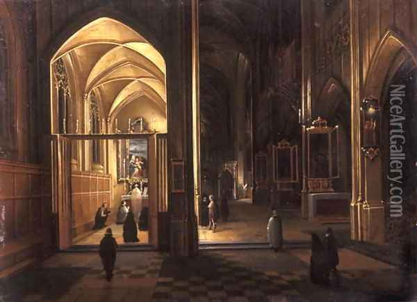 The Interior of a Gothic Church Oil Painting - Hendrick van, the Younger Steenwyck