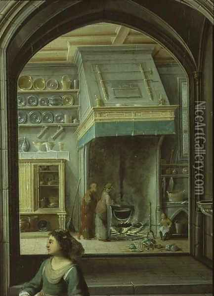 Christ in the house of Martha and Mary, detail of the kitchen, 1620 Oil Painting - Hendrick van, the Younger Steenwyck