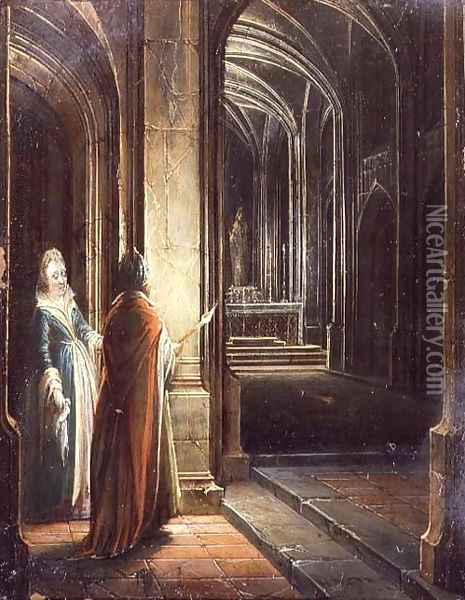 Figures in a Church Oil Painting - Hendrick van, the Younger Steenwyck