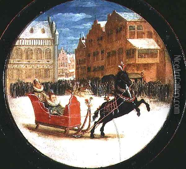 Winter landscape with figures in a horsedrawn sleigh Oil Painting - Hendrick van, the Younger Steenwyck