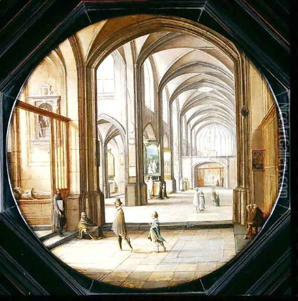 The interior of a cathedral with gentlemen and beggars, 1621 Oil Painting - Hendrick van, the Younger Steenwyck