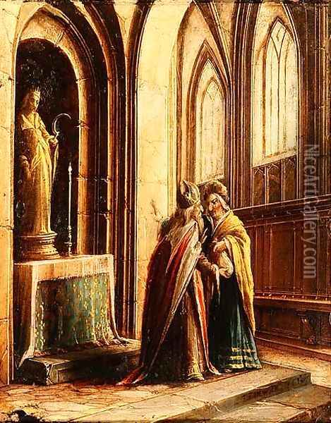 Two Figures in a Church Oil Painting - Hendrick van, the Younger Steenwyck