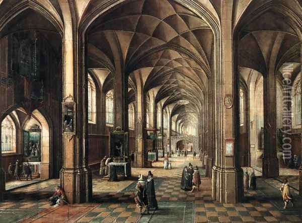 Interior of a Church with a Family in the Foreground Oil Painting - Hendrick van, the Younger Steenwyck