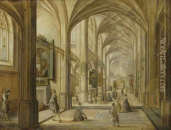 Interior of a Gothic Church Oil Painting - Hendrick van, the Younger Steenwyck