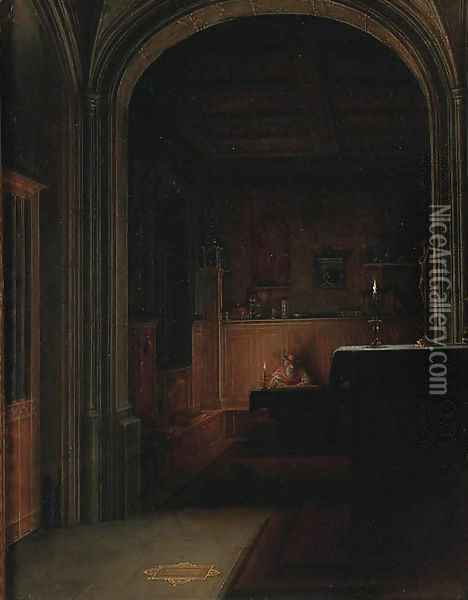 Saint Jerome writing by candlelight in a gothic chapel Oil Painting - Hendrick van, the Younger Steenwyck