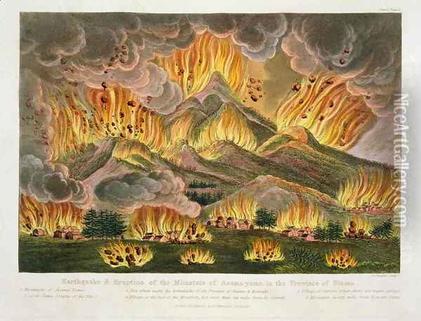 Earthquake and Eruption of the Mountain of Asama-yama, in the Province of Sinano, from Illustrations of Japan by Isaac Titsingh c.1740-1812 published London, 1822 Oil Painting - Joseph Constantine Stadler