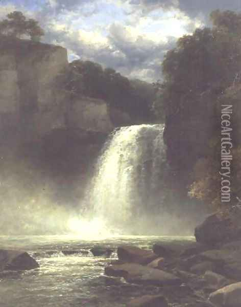 A Waterfall Scene Oil Painting - John Brandon Smith