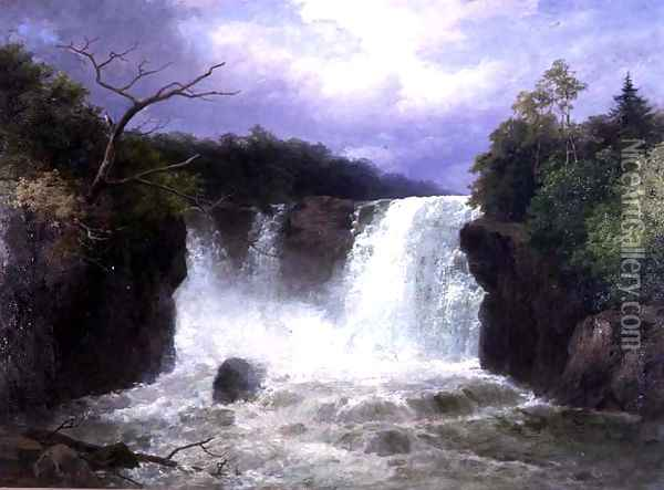 The Falls of the Hespte, South Wales, 1886 Oil Painting - John Brandon Smith