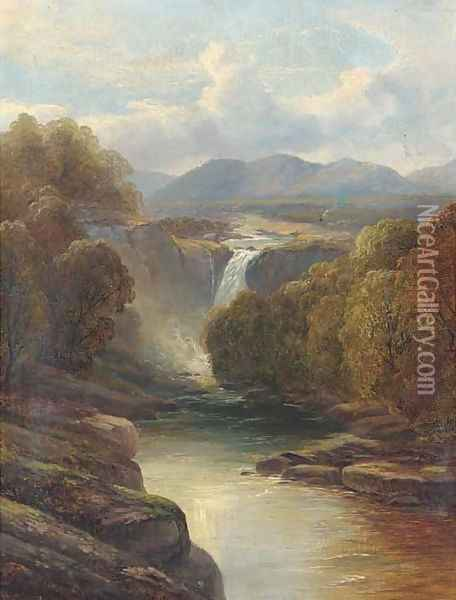 A waterfall in a river landscape Oil Painting - John Brandon Smith