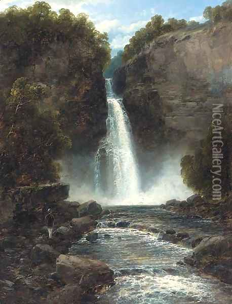 A figure by a waterfall Oil Painting - John Brandon Smith