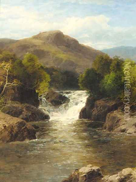 A waterfall in a rocky gorge Oil Painting - John Brandon Smith