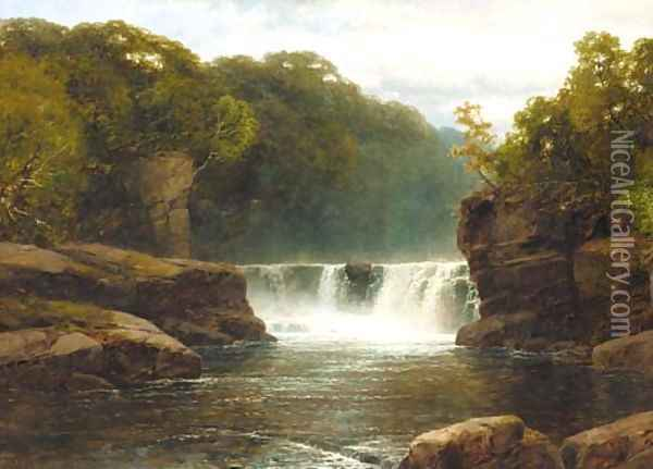 A waterfall in a wooded river valley Oil Painting - John Brandon Smith