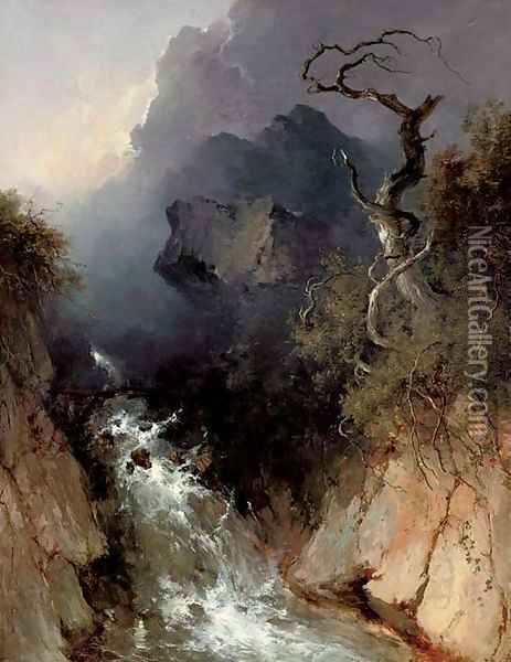 The rocky waterfall Oil Painting - John Brandon Smith