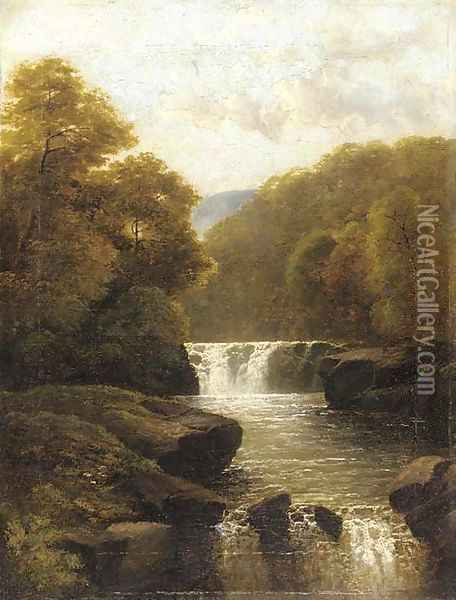 A waterfall in a wooded valley Oil Painting - John Brandon Smith