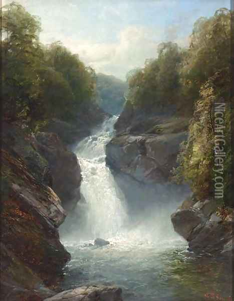 A Welsh waterfall Oil Painting - John Brandon Smith