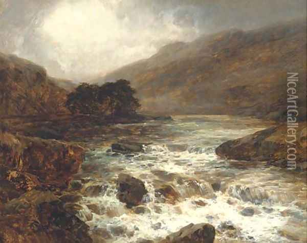 River from the hills, in full spate Oil Painting - John Brandon Smith