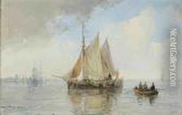 Shipping On A Calm Oil Painting - Andreas Schelfhout