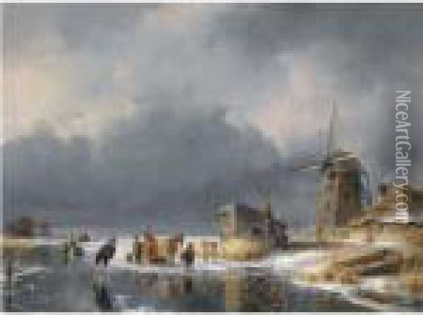 A Winter Scene With Figures And A Horse Sledge By A Mill Oil Painting - Andreas Schelfhout